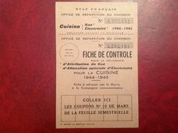 Etat Français 1944 Répartition Du Charbon - Non Classés