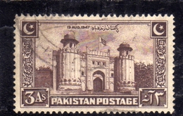 PAKISTAN 1948 INDEPENDENCE 1947 LAHORE FORT GATEWAY ANNA 3a USED USATO OBLITERE' - Pakistan