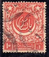 PAKISTAN 1948 INDEPENDENCE 1947 CRESCENT AND URDU INSCRIPTION 1r USED USATO OBLITERE' - Pakistan