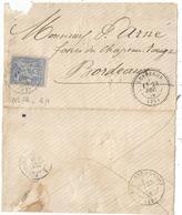 SAGE 25C N°78 LETTRE TYPE 24 LESPERON 23 DEC 1876 (39) LANDES POUR BORDEAUX - Poststempel (Briefe)