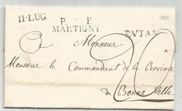 MARQUE VALAIS SUISSE PP MARTIGNY LETTRE SANS TEXTE POUR BONNEVILLE SARDE HAUTE SAVOIE + MARQUE EVIAN EN ENTREE TAXE 20 - Storia Postale