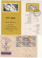 Block On 4FDC + Stamped Info., Olympics, Sport, Hockey, Shooting, Wrestling, Athletic, India 1968 - Sommer 1968: Mexico