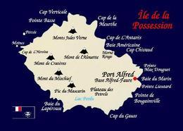 Crozet Islands Possession Island Map Île De La Possession TAAF New Postcard - TAAF : Terres Australes Antarctiques Françaises
