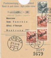Postanweisung Inland Territet Nach Montreux - Rs.: Empfangsbescheinigung Dienst - Schweiz