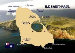 Saint- Paul Island Map TAAF New Postcard - TAAF : Franse Zuidpoolgewesten