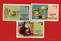 (Mn1) ) BHUTAN ** 1975 - ARTISANAT . Yvert. 457 - 458 - 461. Usato. - Bhutan