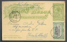 E.P. Carte 5 Centimes MOLS + Tp 5 Centimes (datée De LIBENGE 29VI-12)) Obl. Sc IREBU 2 Juillet 1912 Vers Elisabethville - Postwaardestukken