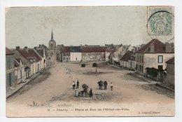 - CPA CHÉROY (89) - Place Et Rue De L'Hôtel De Ville 1905 (avec Personnages) - Edition Lasseron N° 9 - - Cheroy