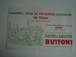 Venise Venezia Jeu Concours Buitoni Buvard Buvards - Lebensmittel