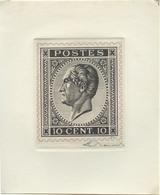 Reproduction Du 10 Centimes N°17 Sur Grand Feuillet Cartonné Avec Signature De E. Renard. - TB-. 14485 - 1865-1866 Profile Left