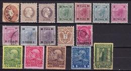 Osterreich / Austria Levant 1863-1909 Kaiser Franz Joseph 17 Marken In Soldi Gestempelt / Mit Falz - Oostenrijkse Levant