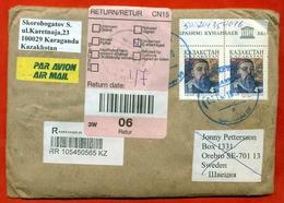 Kazakhstan. Registered Envelope Past The Mail. Airmail. - Kazakhstan