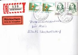 ! 1 Einschreiben Mit Rückschein, R-Zettel  Aus 99102 Klettbach, Thüringen - [7] République Fédérale