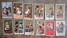 12 Cartons Publicitaires CHOCOLAT GUERIN-BOUTRON - Scènes D'enfants - Fruits - Chocolate