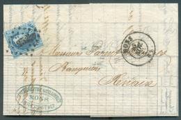 N°15 - Médaillon 20 Centimes Bleu, Obl. LP.252 Avec Surcharge Rouge 'G' (banque Guillochin) Sur Lettre De MONS Le 26 Nov - 1863-1864 Medaillen (13/16)