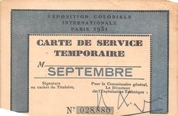 PARIS  -  Carte De Service Temporaire De L'Exposition Coloniale Internationale De 1931 -  Voir Description - Exhibitions