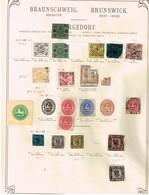 Brunswick + Bergedorf Ancienne Collection Sur Feuille D'époque - Collections (sans Albums)