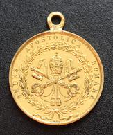 """Médaillon Pendentif Médaille Religieuse Bronze Doré XIXe """"Siège Apostolique De Rome / Pape Pie IX /1849"""" Religious Medal - Religione & Esoterismo"""