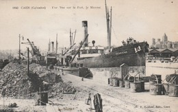 """CAEN : Une Vue Sur Le Port. Le Minerai. (TTB Animation). Bateau """"Germaine"""". - Caen"""