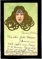 CPA Art Nouveau Femme Girl Woman Circulé Type Kirchner Mucha - Women