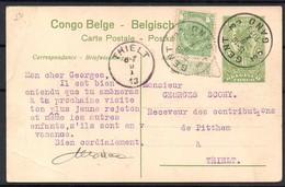 Congo - Entier Postal Stibbe 42 - Vue 13 Habitation Sur La Haut Congo - Support Gand Vers Thielt Belgique 1913 - C8 - Ganzsachen