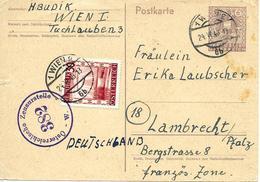 Wien Vers Allemagne 1946 Sur Entier Postal. Censure - Marcophilie - EMA (Empreintes Machines)