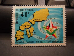 Timbre République De Haute-Volta 40F Conseil De L'entente 1959-1974 15° Anniversaire - Haute-Volta (1958-1984)