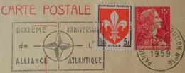 """R1615/247 - ENTIER POSTAL - TYPE MARIANNE De MULLER - N°1011-CP1 - CàD """" PARIS TRI Et DISTRIBUTION N°16 11 MAI 1959 """" - Entiers Postaux"""