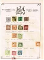 Wurtemberg Ancienne Collection Sur Feuille D'époque - Collections (sans Albums)