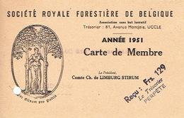 Carte De Membre De 1951 SOCIETE ROYALE FORESTIERE DE BELGIQUE - UCCLE - Cartes Postales