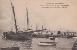 Bv - Rare Cpa KERNEVEL (Larmor Plage) - Bateaux De Pêche Au Mouillage - La Cale (Environs De LORIENT) - Larmor-Plage