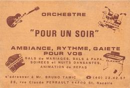 """SAINT-NAZAIRE - Carte De Visite De L'Orchestre """" POUR Un SOIR """" - Bruno TAMIC 25, Rue Claude Perrault - Saint Nazaire"""