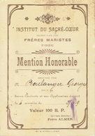 DISON 1939 INSTITUT DU SACRE-COEUR Dirigé Par Les FRERES MARISTES - Mention Honorable Obtenue Par BOULANGER Georges - Diplômes & Bulletins Scolaires