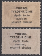 PUBLICITE VIBEROL TYROTHRICINE S/ AEF 239** + POLYNESIE 2** - Médicament / Médecine / Lion / Joueuse Guitare - Neufs