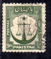 PAKISTAN 1948 INDEPENDENCE 1948 1957 SCALES STAR AND CRESCENT 9p USED USATO OBLITERE' - Pakistan