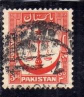 PAKISTAN 1948 INDEPENDENCE 1948 1957 SCALES STAR AND CRESCENT 3p USED USATO OBLITERE' - Pakistan