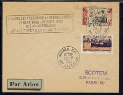 """Nelle Calédonie - 1950 - Timbre 270 + 278 Sur Enveloppe """"10ème Anniversaire Du Ralliement à La France Libre"""" TB - - Nueva Caledonia"""