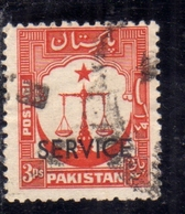 PAKISTAN 1948 INDEPENDENCE 1957 1961 OFFICIAL STAMPS SCALES STAR AND CRESCENT OVERPRINTED SERVICE 3p USED USATO OBLITERE - Pakistan