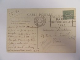 Flamme Publicitaire Jeux Olympiques Paris 1924 Sur CP Gray (Haute-Saône) Animée - Circulée - Marcophilie (Lettres)