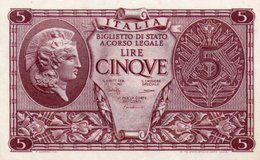 ITALIA 5 LIRE 1944 P-31  AUNC - [ 1] …-1946: Königreich