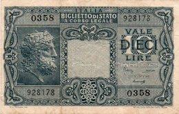 ITALIA 10 LIRE 1944 P-32  VF+ - [ 1] …-1946 : Kingdom