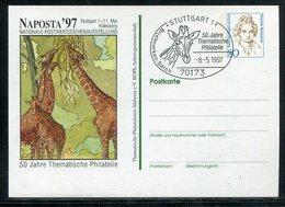 """Bundesrepublik Deutschland / 1997 / Privatpostkarte """"Thematische Philatelie"""", SSt. Stuttgart (20092) - Private Postcards - Used"""