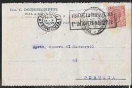 """ANNULLO A TARGHETTA """" VISITATE LA TRIPOLITANIA..."""" UFF. MILANO/FERROVIA 13.10.1927 SU CARTOLINA INTESTATA PER PERUGIA - Marcophilia"""