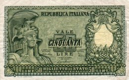 ITALIA 50 LIRE 1951 P-91  VF+ - 50 Lire