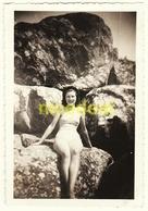 Ancienne Photo Amateur 6x9 Jeune Femme Fille Maillot De Bain Bronzage Tirage Papier Original Gevaert Ridax 1930-40 - Anonyme Personen