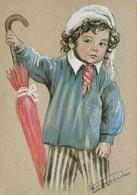 Marie Claude Monchaux Les Enfants Normands Avec Parapluie (2 Scans) - Peintures & Tableaux