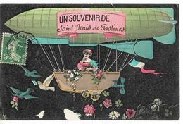 Un Souvenir De SAINT-DENIS-de-GASTINES  (fantaisie Ballon Dirigeable), Envoi 1908 - France