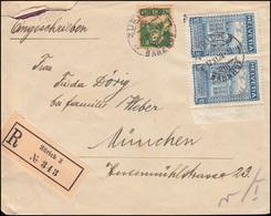 Schweiz 193B Weltpostverein Randpaar Mit 164 Tell MiF R-Brief ZÜRICH 17.11.1924 - Non Classés