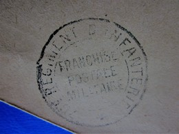 WWI GUERRE 14/18  Marcophilie Lettre CAD Régiment Infanterie?Franchise Postale Militaire Pr Ministre Intérieur Paris - Postmark Collection (Covers)