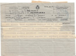 Telegramma Marazza Achille 1945 Politico - Historical Documents